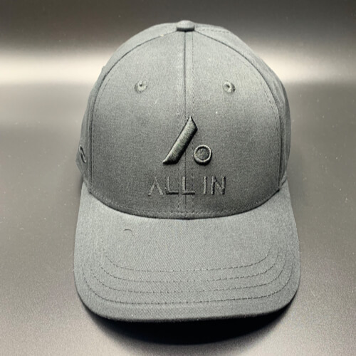 All In Hats Black Embroidered Slight Curved Visor by Vince Miller Front