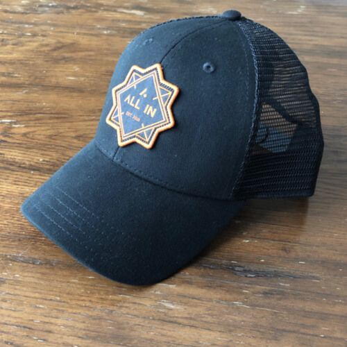 All In Trucker Mesh Hat - Front Angle Black Top by Vince Miller