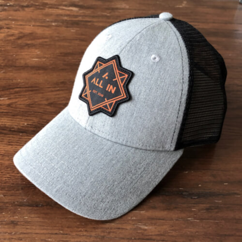 All In Trucker Mesh Hat - Front Angle Gray Top by Vince Miller