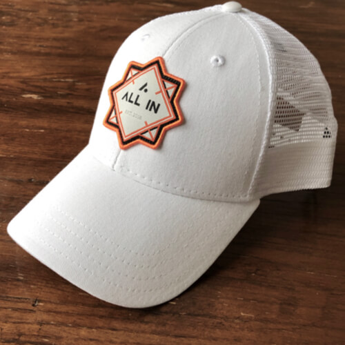 All In Trucker Mesh Hat - Front Angle White Top by Vince Miller