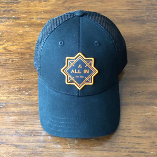 All In Trucker Mesh Hat - Front Black by Vince Miller