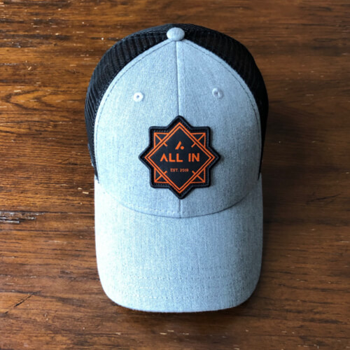 All In Trucker Mesh Hat - Front Gray by Vince Miller