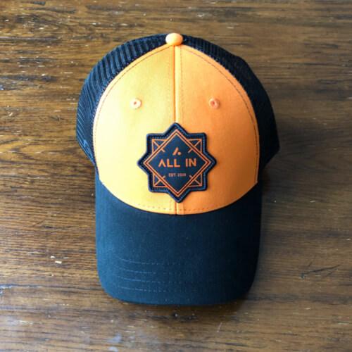 All In Trucker Mesh Hat - Front Orange by Vince Miller