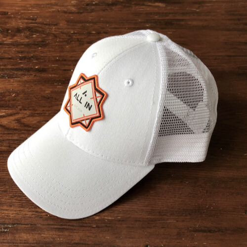 All In Trucker Mesh Hat - White Angle by Vince Miller