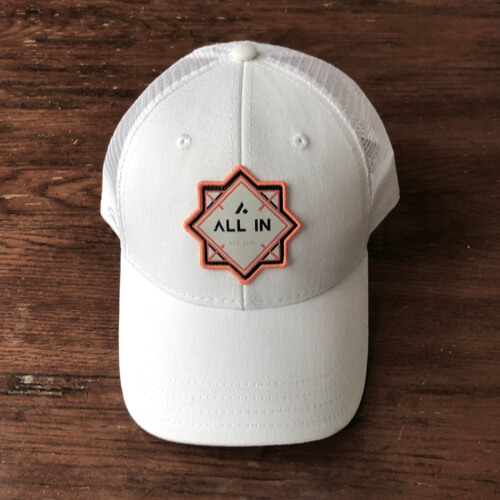 All In Trucker Mesh Hat - White Front by Vince Miller