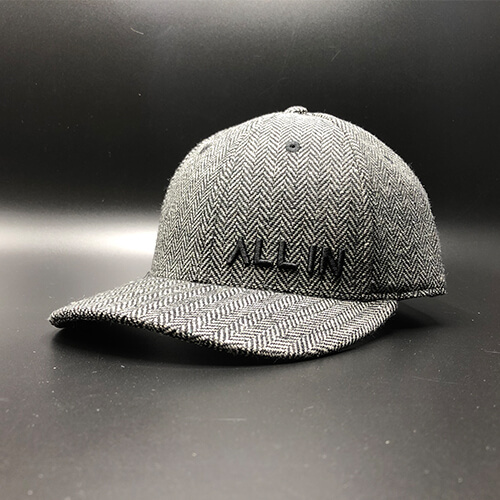 All In Dress Hat Black Herringbone Front Angle by Vince Miller