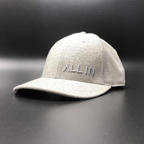 All In Dress Hat Grey2 Herringbone Front Angle by Vince Miller