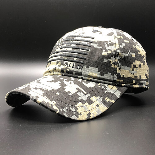 All In Flag Hat Digi Camo Black Front Angle by Vince Miller