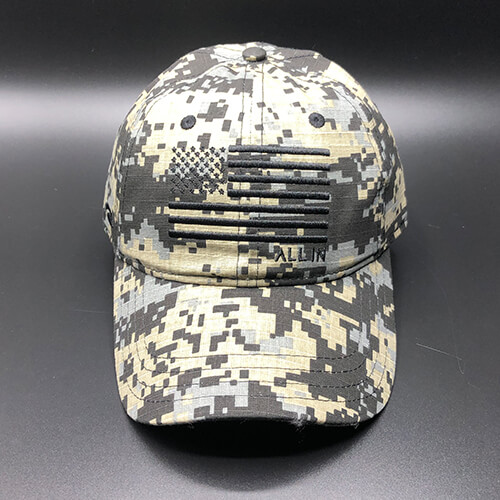 All In Flag Hat Digi Camo Black Front by Vince Miller