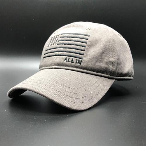 All In Flag Hat Grey Front Angle by Vince Miller