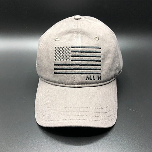 All In Flag Hat Grey Front by Vince Miller