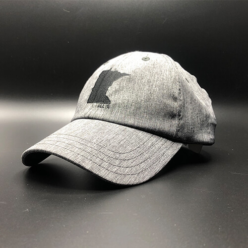 All In MN Hat Tri-Tech Black Heather Front Angle by Vince Miller