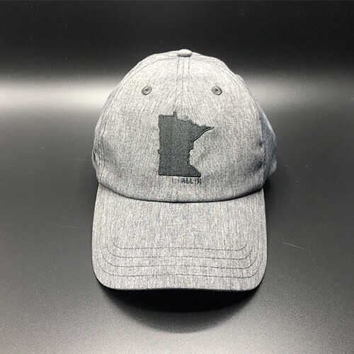 All In MN Hat Tri-Tech Black Heather Front by Vince Miller