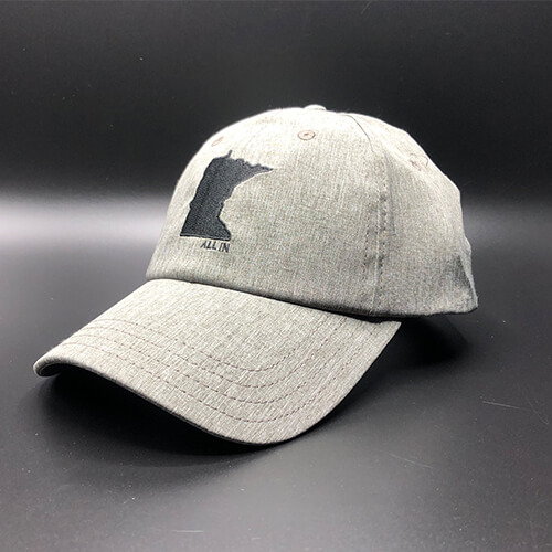 All In MN Hat Tri-Tech Grey Heather Front Angle by Vince Miller