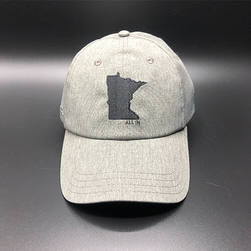 All In MN Hat Tri-Tech Grey Heather Front by Vince Miller
