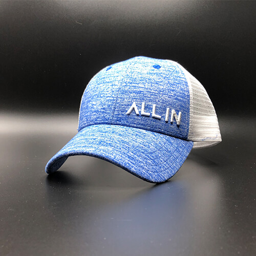All In Trucker Mesh Navy Heather Jersey White Front Angle by Vince Miller