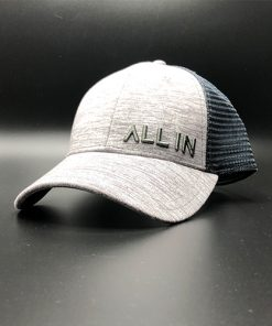 All In Trucker Mesh Steel Heather White Front Angle by Vince Miller